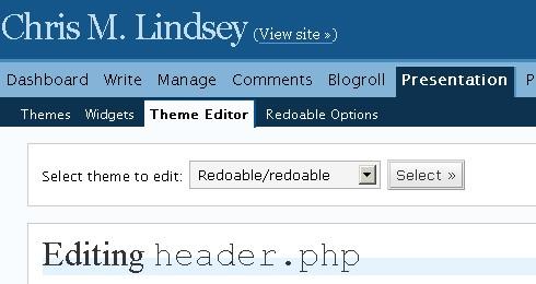 theme editor menu